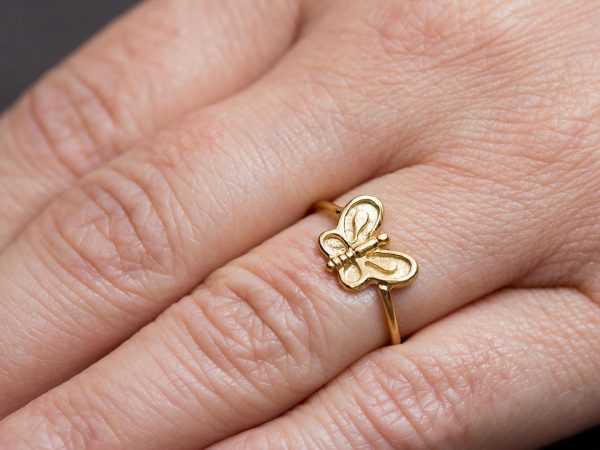 Hand Made Sterling Silver Gold Plated Dainty Butterfly Ring