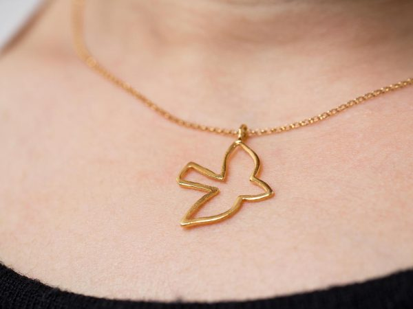 Hand Made Sterling Silver Gold Plated Robin Pendant