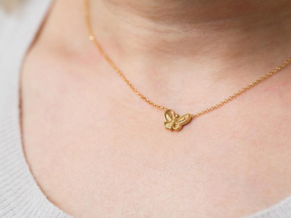 Hand Made Sterling Silver Gold Plated Dainty Butterfly Pendant