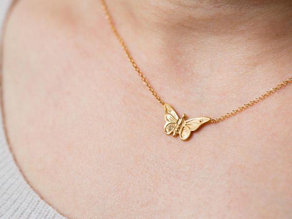 Hand Made Sterling Silver Gold Plated Small Butterfly Pendant