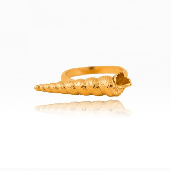 seashell ring gold plated