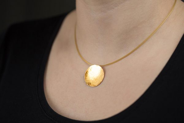 Hand Made Sterling Silver Gold Plated Hammered Disk Pendant