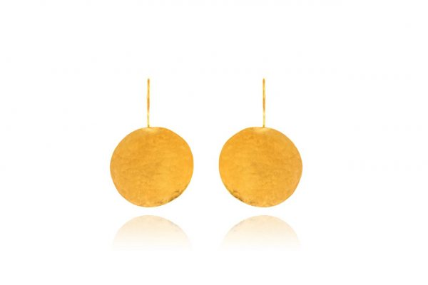 Hand Made Sterling Silver Gold Plated Hammered Disk Earrings