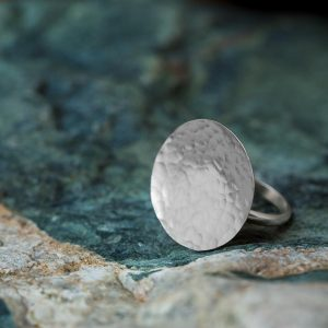 Hand Made Sterling Silver Hammered Disk Ring