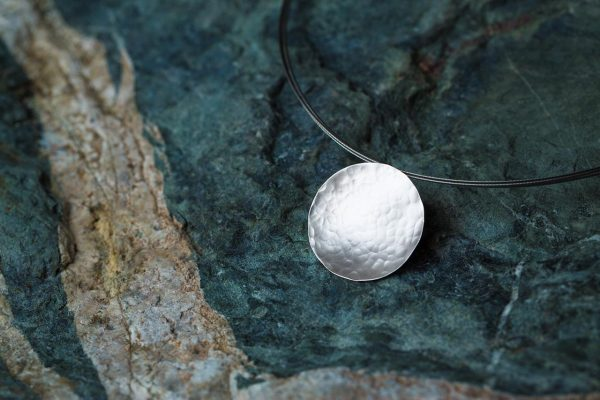 Hand Made Sterling Silver Hammered Disk Pendant