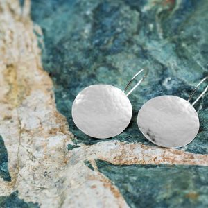 silver hammered disk earrings