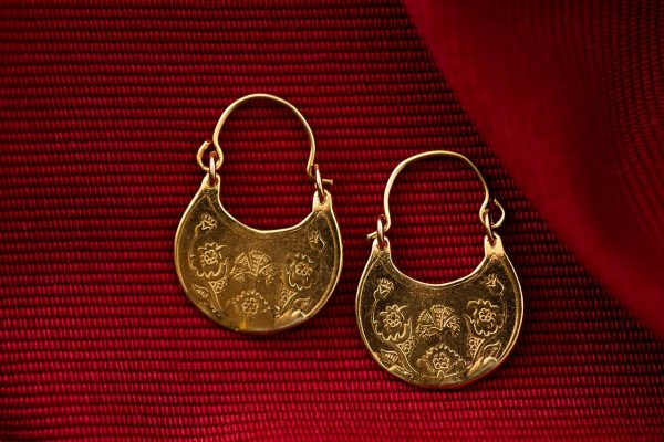 Hand Made Sterling Silver Gold Plated Carnation-Bird Byzantine Hoops