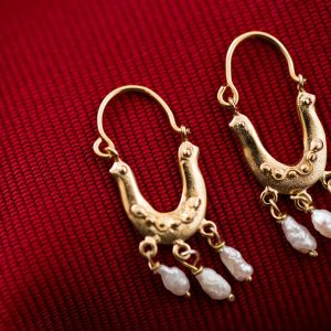 Hand Made Sterling Silver Gold Plated Double Doves Byzantine Hoops