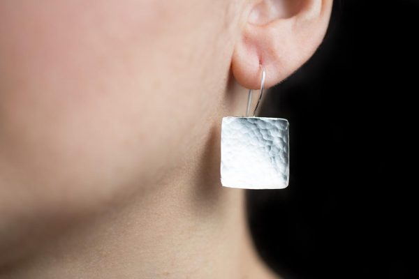 Hand Made Sterling Silver Hammered Square Earrings