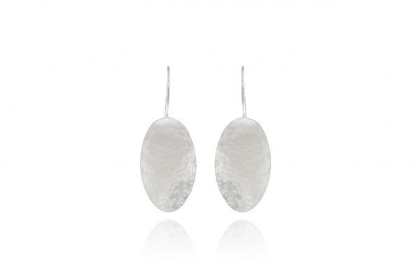 Hand Made Sterling Silver Hammered Oval Earrings