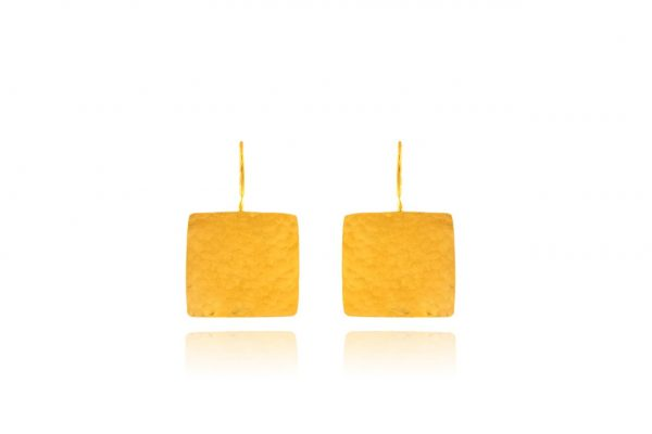 Hand Made Sterling Silver Gold Plated Hammered Square Earrings