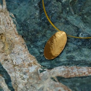 Hand Made Sterling Silver Gold Plated Hammered Oval Pendant
