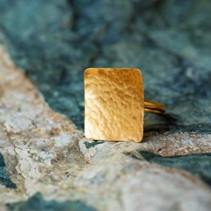 Hand Made Sterling Silver Gold Plated Hammered Square Ring