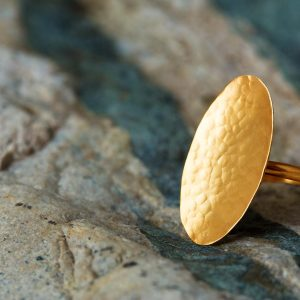 Hand Made Sterling Silver Gold Plated Hammered Oval Ring