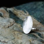 silver hammered oval ring