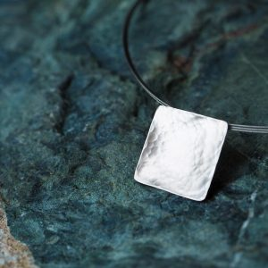 Hand Made Sterling Silver Hammered Square Pendant