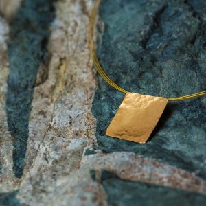 Hand Made Sterling Silver Gold Plated Hammered Square Pendant