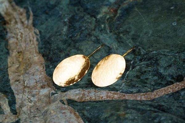 Hand Made Sterling Silver Gold Plated Hammered Oval Earrings