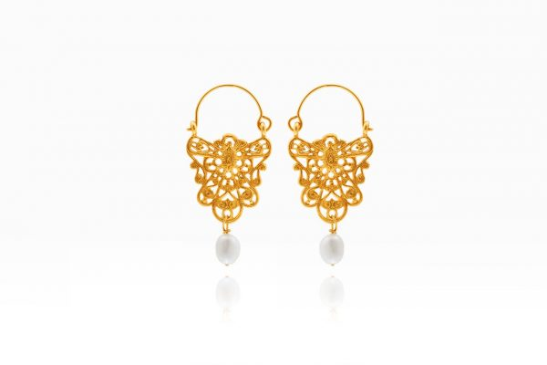 Hand Made Sterling Silver Gold Plated Lace Byzantine Hoops