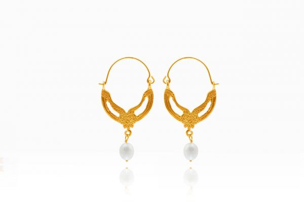 Hand Made Sterling Silver Gold Plated Flower Byzantine Hoops
