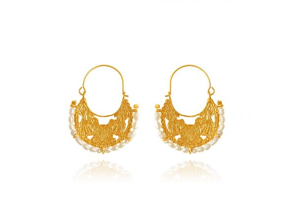 Hand Made Sterling Silver Gold Plated Two Birds Byzantine Hoops