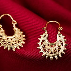 Hand Made Sterling Silver Gold Plated Filigree Byzantine Hoops