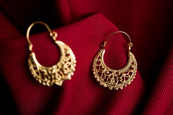 Hand Made Sterling Silver Gold Plated Big Laced Byzantine Hoops