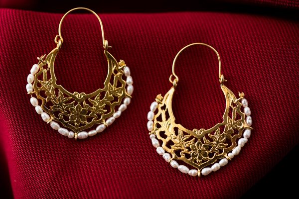 Hand Made Sterling Silver Gold Plated Big Floral Byzantine Hoops