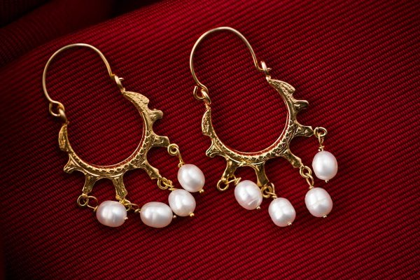 Hand Made Sterling Silver Gold Plated Byzantine Hoops with Pearls