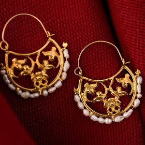 Hand Made Sterling Silver Gold Plated Floral Byzantine Hoops