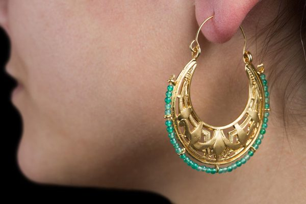 Hand Made Sterling Silver Gold Plated Art Deco Byzantine Hoops