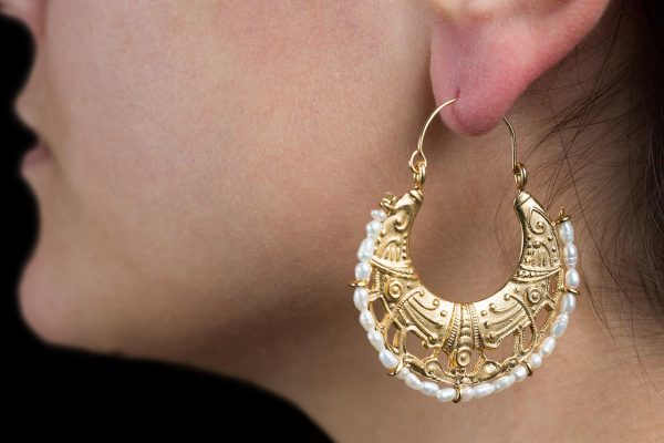 Hand Made Sterling Silver Gold Plated Cornucopia Byzantine Hoops