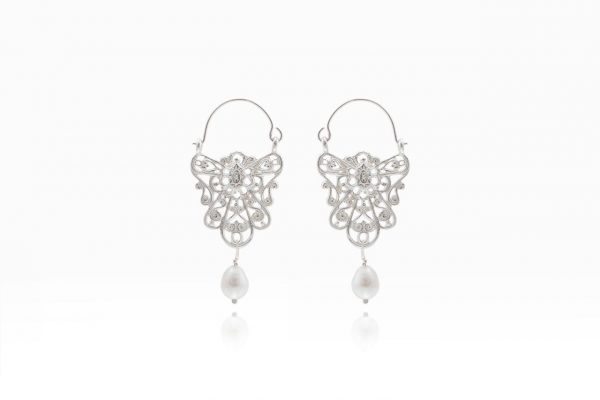 Hand Made Sterling Silver Lace Byzantine Hoops