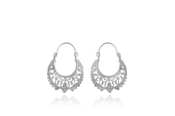Hand Made Sterling Silver Big Laced Byzantine Hoops