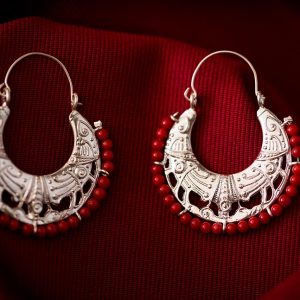 Hand Made Sterling Silver Cornucopia Byzantine Hoops