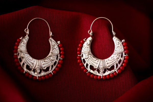 byzantine earrings with coral