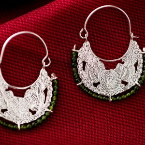 Hand made sterling silver byzantine hoops earrings two birds