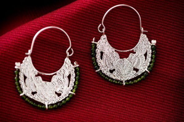 Hand made sterling silver byzantine hoops earrings two birds