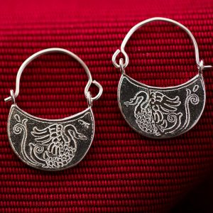 Hand Made Sterling Silver Small Swans Byzantine Hoops