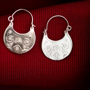Hand Made Sterling Silver Carnation-Bird Byzantine Hoops