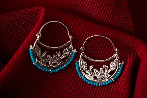 Hand Made Sterling Silver Two Doves Byzantine Hoops