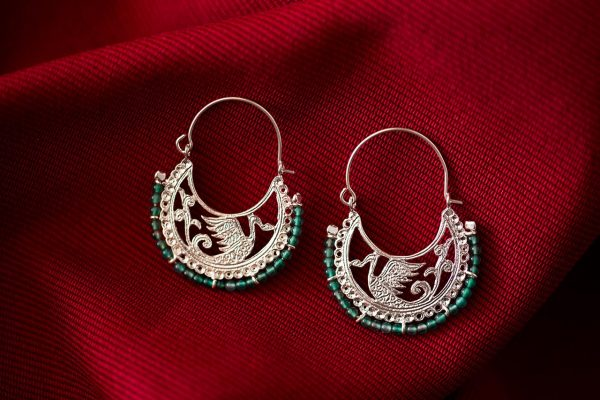Hand Made Sterling Silver Byzantine Swans Hoops