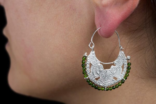 Hand made sterling silver byzantine hoops earrings with two birds