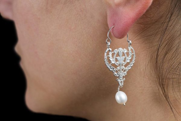 Hand Made Sterling Silver Small Laced Byzantine Hoops with Pearl