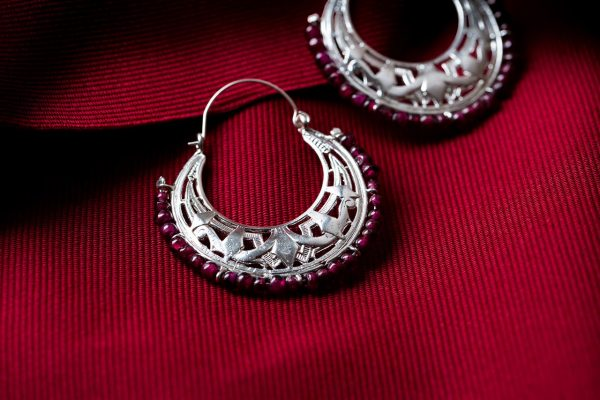 Hand Made Sterling Silver Art Deco Byzantine Hoops