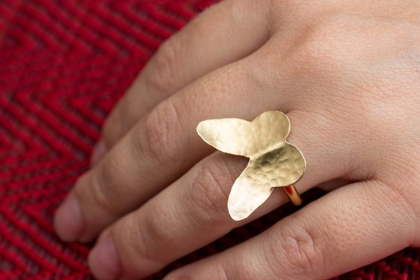 silver adjustable hammered butterfly ring